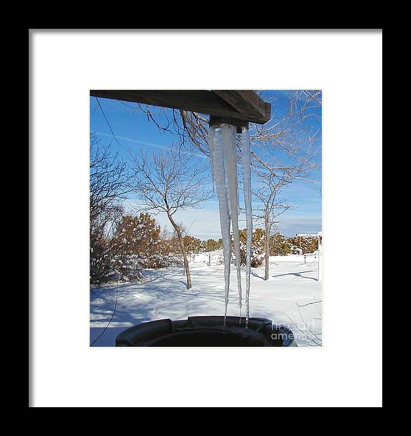 Icicle Framed Print featuring the photograph Rain Barrel Icicle by Diana Dearen
