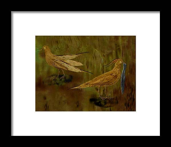 Landscape--birds With Fish Catch. Framed Print featuring the digital art Rain Bird Hunt by Jerry White