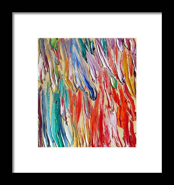 Abstract Framed Print featuring the painting Rain. Colorful Painter Palette. Exhausted Paint And Abstract Painting. by Vitali Komarov