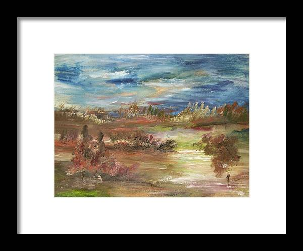 The Rain Begins To Fall In Early September Framed Print featuring the painting Rain Come September by Edward Wolverton