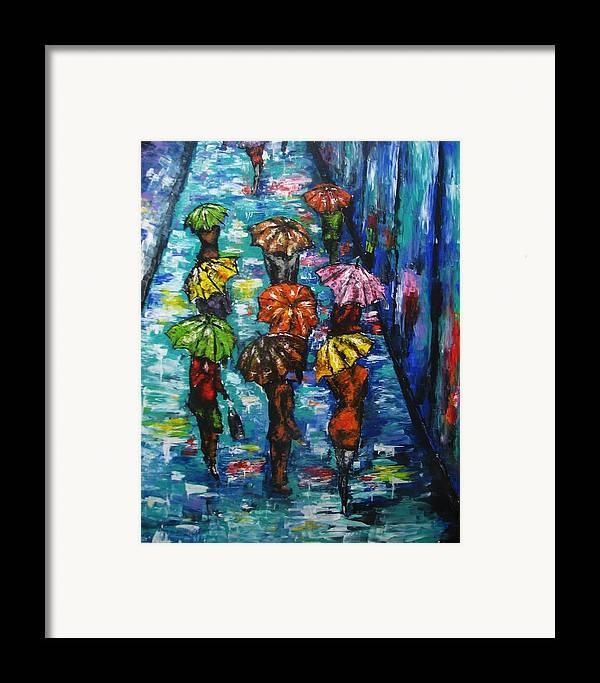 Rain Framed Print featuring the painting Rain Fantasy Acrylic Painting by Natalja Picugina