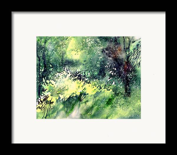 Landscape Watercolor Nature Greenery Rain Framed Print featuring the painting Rain Gloss by Anil Nene