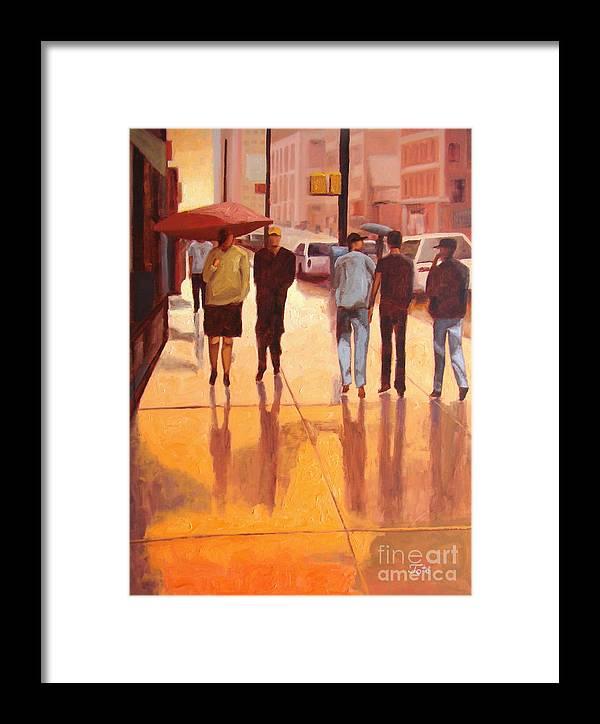 Manhattan Framed Print featuring the painting Rain In Manhattan Number Eighteen by Tate Hamilton
