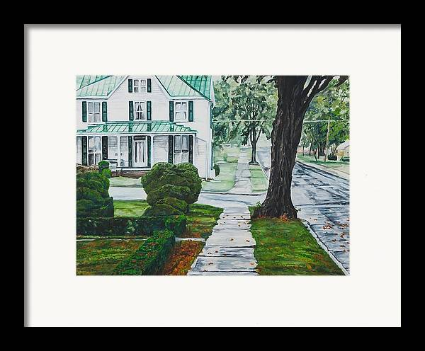 Small Town Framed Print featuring the painting Rain On Green Roof by Thomas Akers