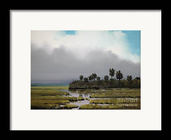 Landscape Framed Print featuring the painting Rain On The Way by Glenn Secrest