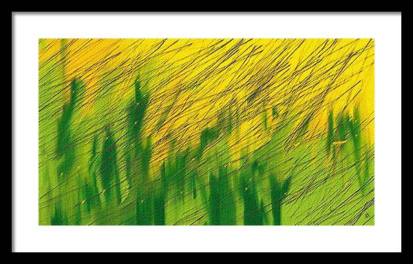 Mustard Field Framed Print featuring the digital art Rain Over Mustard Field by Mayank Chhaya