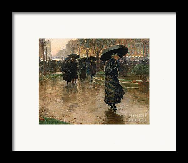 Rain Storm Framed Print featuring the painting Rain Storm Union Square by Childe Hassam
