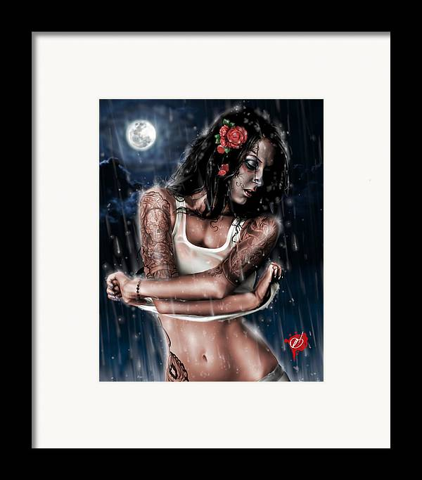 Pete Framed Print featuring the painting Rain When I Die by Pete Tapang
