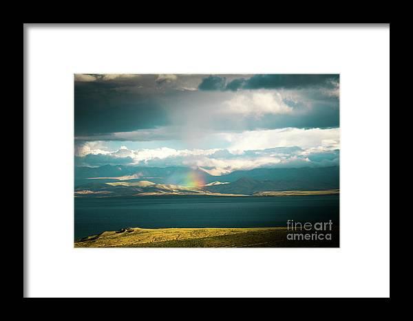 Tibet Framed Print featuring the photograph Rainbow Above Lake Manasarovar Kailash Yantra.lv by Raimond Klavins