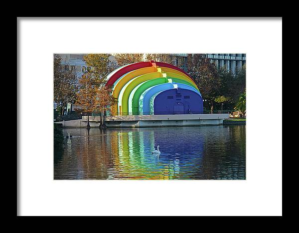 Band Shell Framed Print featuring the photograph Rainbow Bandshell And Swan by Denise Mazzocco