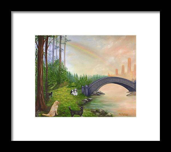 Pet Remembrance Framed Print featuring the painting Rainbow Bridge by Anne Kushnick