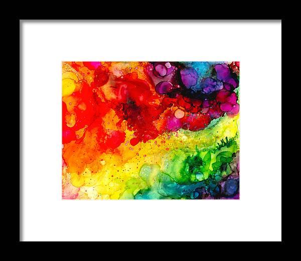Rainbow Framed Print featuring the painting Rainbow Bubbles by Cat Moleski