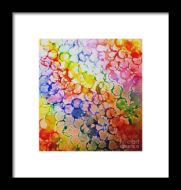 Rainbow Bubbles Framed Print featuring the painting Rainbow Bubbles by Hazel Holland