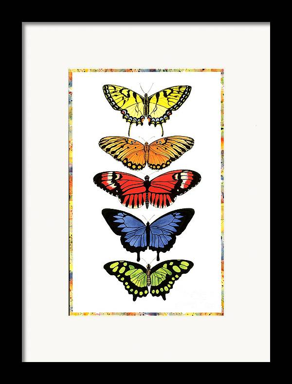 Butterflies Framed Print featuring the painting Rainbow Butterflies by Lucy Arnold