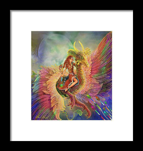 Dragon Fantasy Paintings Framed Print featuring the painting Rainbow Dragon by Steve Roberts