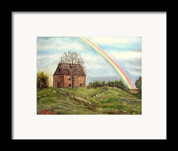 Barn Landscape Rainbow Framed Print featuring the painting Rainbow by Kenneth LePoidevin