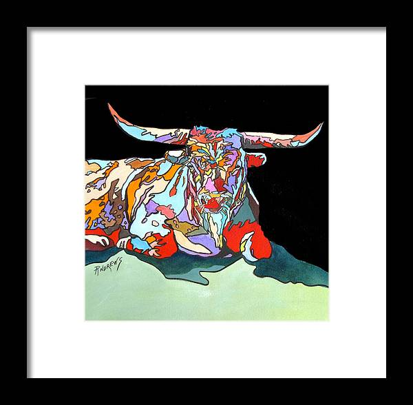 Longhorn Framed Print featuring the painting Rainbow Longhorn by Rae Andrews