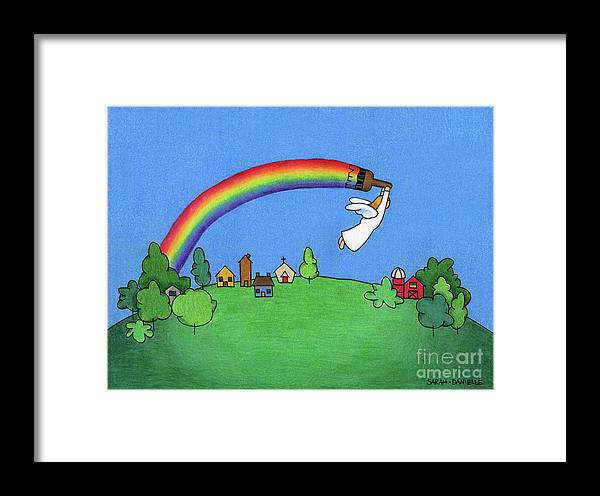 Angels Framed Print featuring the drawing Rainbow Painter by Sarah Batalka