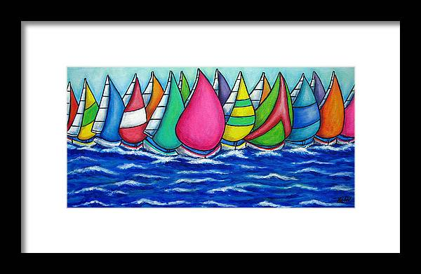 Boats Framed Print featuring the painting Rainbow Regatta by Lisa Lorenz