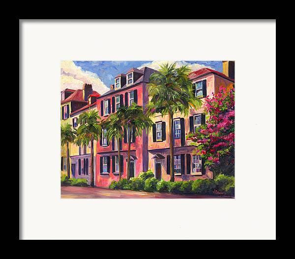 Rainbow Row Framed Print featuring the painting Rainbow Row Charleston Sc by Jeff Pittman