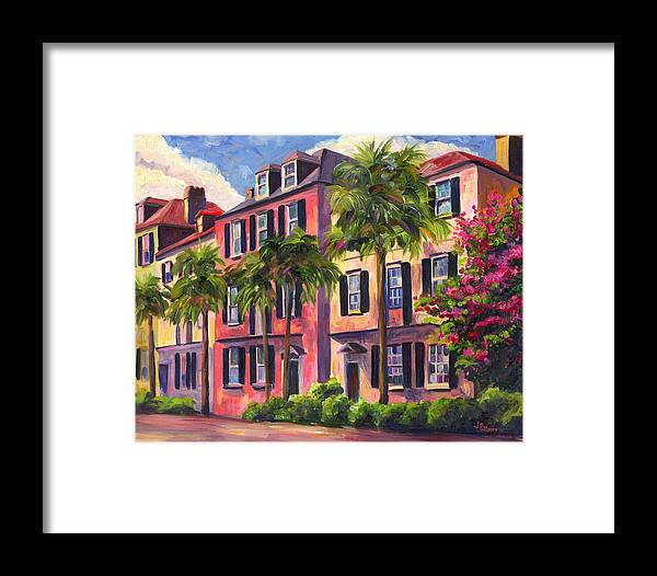 Rainbow Row Framed Print featuring the painting Rainbow Row Charleston Sc by Jeff Pittman