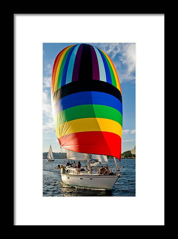 Seattle Framed Print featuring the photograph Rainbow Sail by Tom Dowd