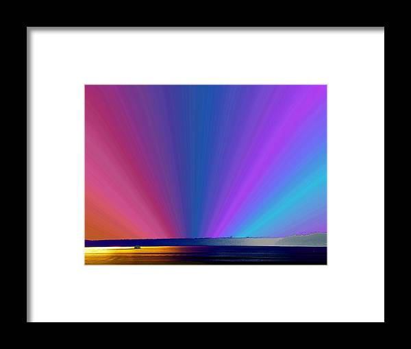 Ferry Framed Print featuring the photograph Rainbow Setting by Tim Allen