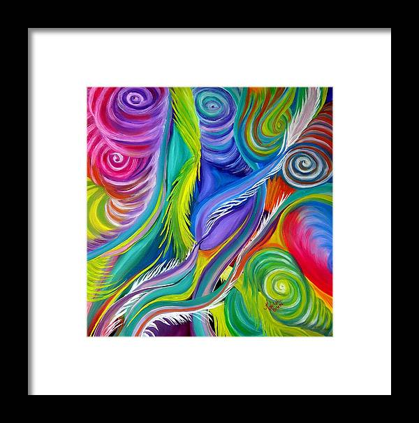 Abstract Framed Print featuring the painting Rainbow Tornadoes by Kathern Welsh