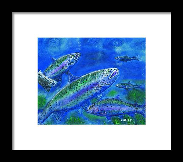 Rainbow Trout Framed Print featuring the painting Rainbow Trout Swimming by Tanna Lee M Wells