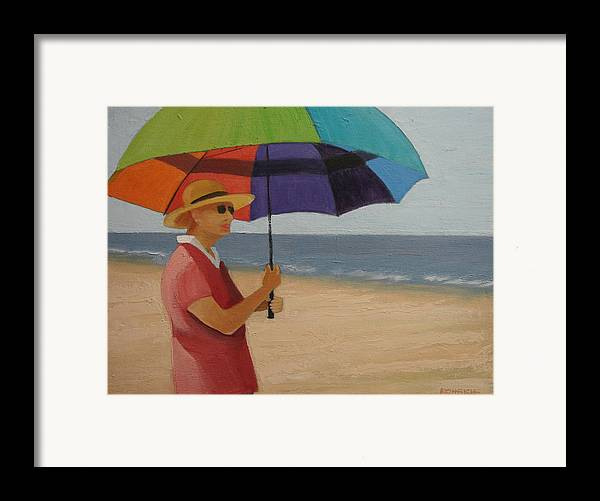 Ocean Framed Print featuring the painting Rainbow Umbrella by Robert Rohrich