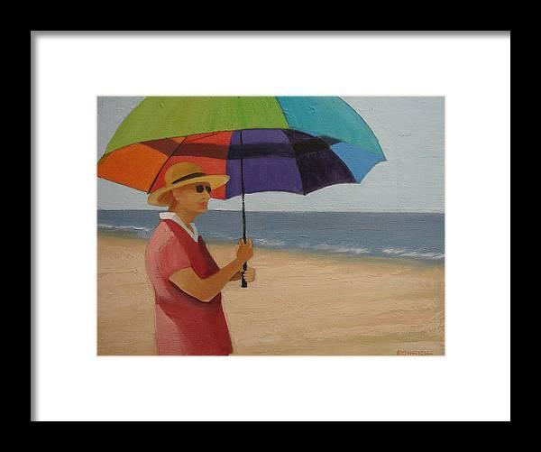 Ocean Framed Print featuring the painting Rainbow Umbrella by Robert Rohrich