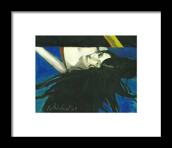 Erotic Framed Print featuring the painting Rainbow Woman Black Hair by Harry Weisburd