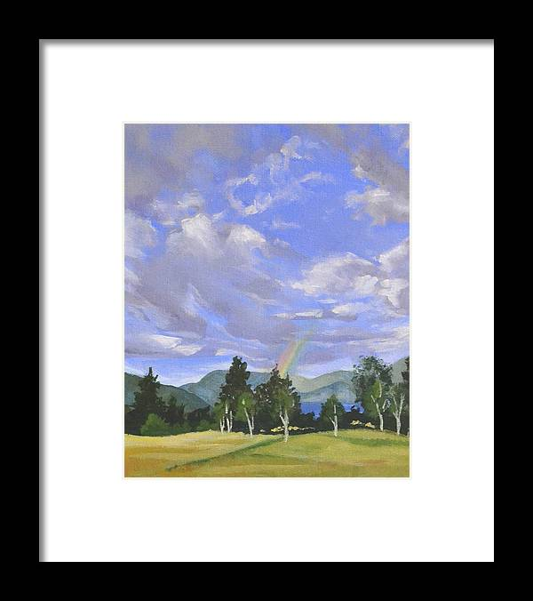 Clouds Framed Print featuring the painting Rainbow's End by Mary Chant
