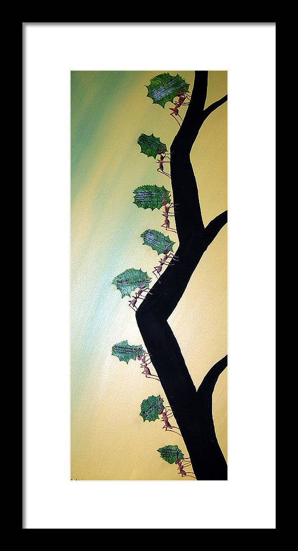 Ant Framed Print featuring the mixed media Rainforest Information Superhighway by Sharon Supplee