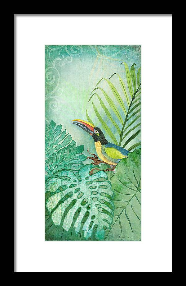 Toucan Framed Print featuring the painting Rainforest Tropical - Tropical Toucan W Philodendron Elephant Ear And Palm Leaves by Audrey Jeanne Roberts