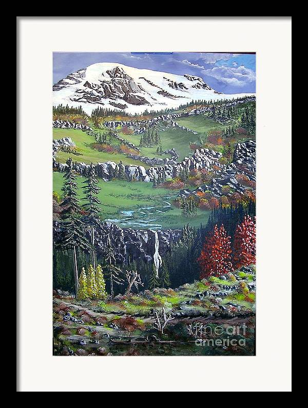 Landscape Framed Print featuring the painting Rainier In Fall by John Wise