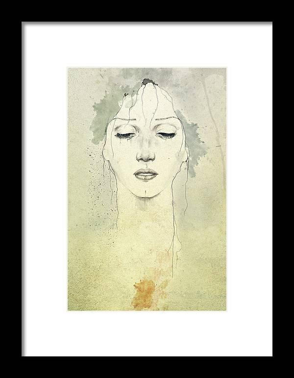 Raining Framed Print featuring the digital art Raining by Diego Fernandez
