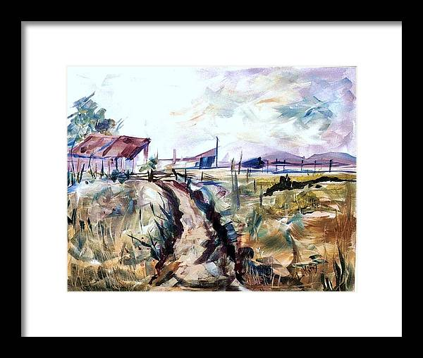 Farm Framed Print featuring the painting Rains Comin by Linda King