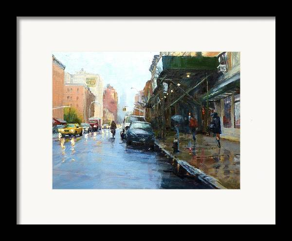 Landscape Framed Print featuring the painting Rainy Afternoon On Amsterdam Avenue by Peter Salwen