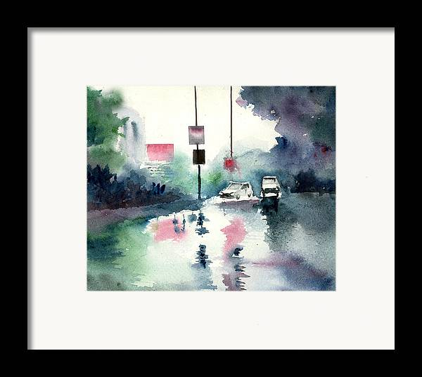 Nature Framed Print featuring the painting Rainy Day by Anil Nene
