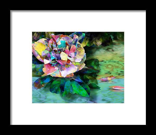 Peony Framed Print featuring the digital art Rainy Day Peony by Gae Helton