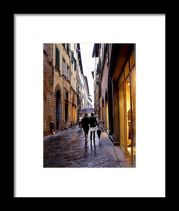 Rainy Day Shopping In Italy Framed Print featuring the photograph Rainy Day Shopping In Italy 2 by Nancy Bradley