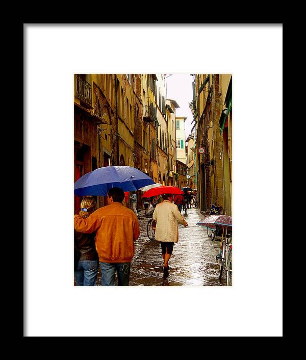 Italy Framed Print featuring the photograph Rainy Day Shopping In Italy by Nancy Bradley