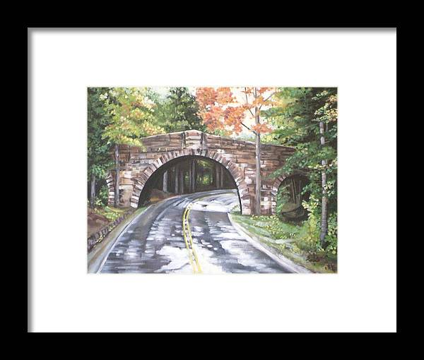 Landscape Framed Print featuring the painting Rainy Day by Srilata Ranganathan