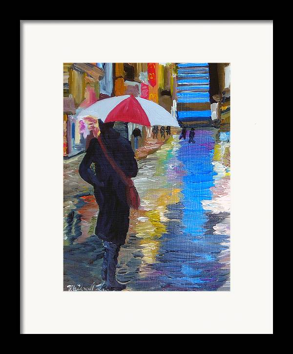 Umbrella Framed Print featuring the painting Rainy New York by Michael Lee