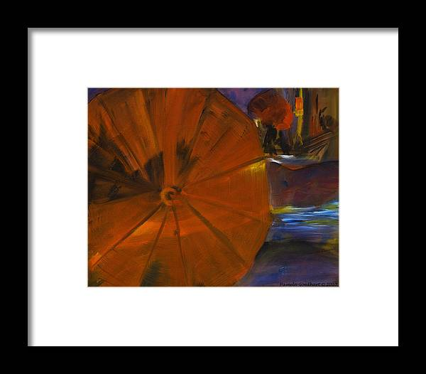 Umbrellas Framed Print featuring the painting Rainy Night In The City by Pamela Goedhart