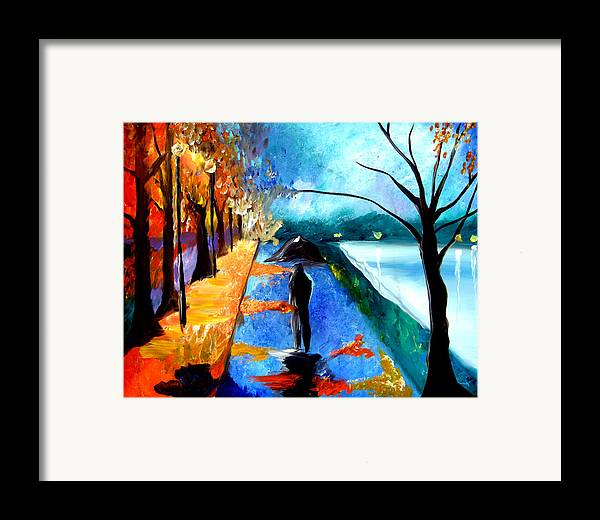 Pop Art Framed Print featuring the painting Rainy Night by Tom Fedro - Fidostudio