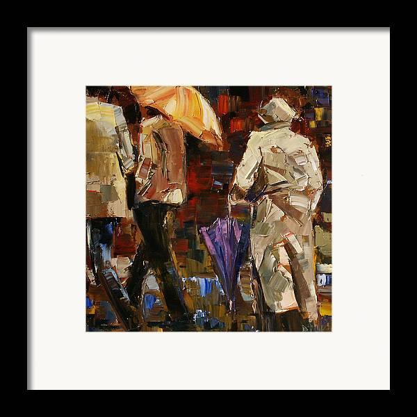Umbrellas Framed Print featuring the painting Rainy Season by Debra Hurd