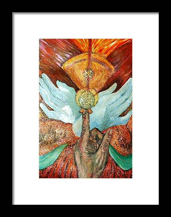 Spiritual Framed Print featuring the painting Raise It Golden by Stephen Mead