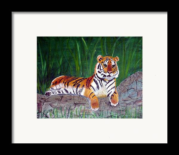 Animal Framed Print featuring the painting Rajah by Marcia Paige